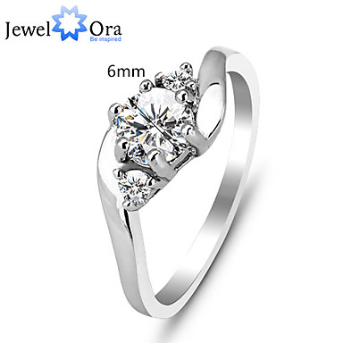 Women's Band Ring Silver Sterling Silver Cubic Zirconia Fashion Party Costume Jewelry