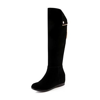 Feminino Sapatos Flanelado Outono Inverno Salto Plataforma Botas Cano Alto Ziper Para Casual Social Preto