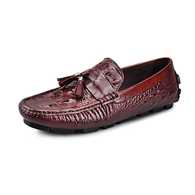 Men's Shoes Outdoor / Office & Career / Casual Corcodile Leather Loafers Black / Burgundy