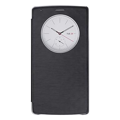 Pouzdro Uyumluluk LG LG G4 LG Kılıf Satandlı Pencereli Tam Kaplama Kılıf Tek Renk Sert PU Deri için