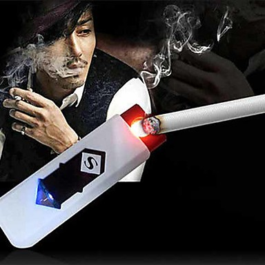 USB Smart Electronic Cigarette Lighter Rechargeable Flashlight Keychain Lighter Party (Random Color)