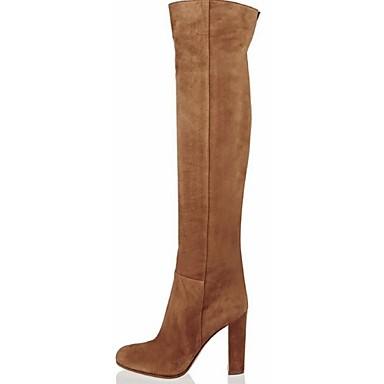 여성 구두 플리스 봄 가을 겨울 청키 굽 무릎 이상 높이 부츠 제품 캐쥬얼 드레스 브라운