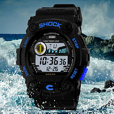 SKMEI Ανδρικά Ρολόι Καρπού Χαλαζίας Ανθεκτικό στο Νερό Αθλητικό Ρολόι LED PU Μπάντα Φυλαχτό Μαύρο