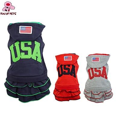 Köpek Kapüşonlu Giyecekler Elbiseler Köpek Giyimi Moda Sporlar Amerikan / ABD Koyu Mavi Gri Kırmzı Kostüm Evcil hayvanlar için