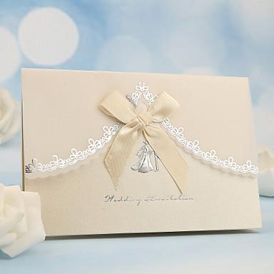 preiswerte Hochzeitseinladungen-Seitlich gefaltet Hochzeits-Einladungen Einladungskarten Perlenpapier