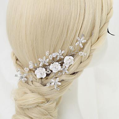 Cristal Imitação de Pérola Strass Liga Pentes de cabelo 1 Casamento Ocasião Especial Capacete