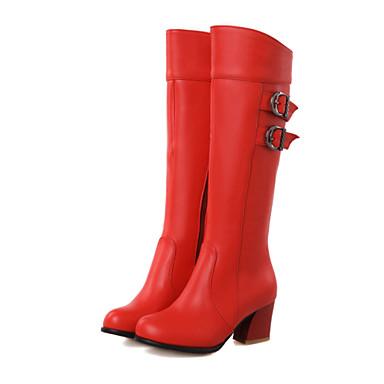 Talon Femme Noir Marron 06439761 à Hiver Bout Boucle Bottes la rond Mode Bottier Polyuréthane Bottes Rouge Automne Chaussures Bottes 4q4zxwpBA