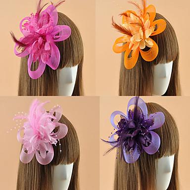 튤 깃털 매혹 꽃들 모자 머리핀 1 결혼식 특별한 때 캐쥬얼 집 밖의 투구