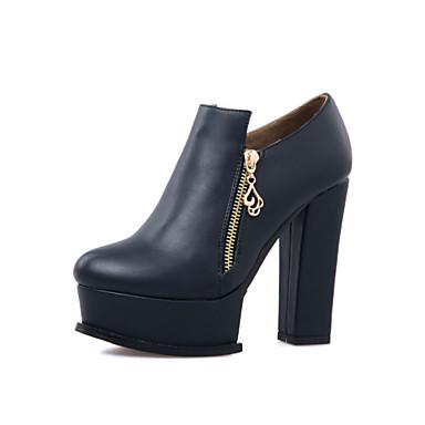 Kadın Ayakkabı Yapay Deri Bahar Sonbahar Kış Botinler Kalın Topuk Platform Bootiler/ Bilek Botları Zincir Fermuar Uyumluluk Günlük Elbise