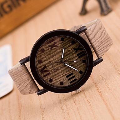בגדי ריקוד נשים קווארץ שעון יד שעונים יום יומיים עור להקה וינטאג' עץ אופנתי חום חאקי