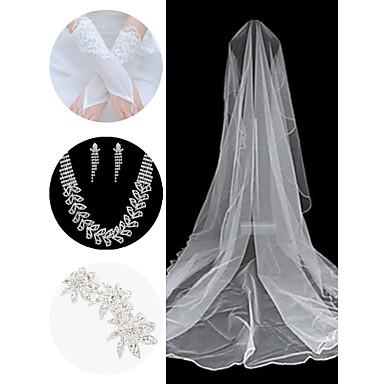 dodatki ślubne set (zasłona& rękawiczki& fryzura& naszyjnik& kolczyki)