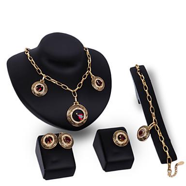 Imitation Rubin Aleación Rot 1 Paar Ohrringe 1 Armreif Halsketten Ringe Für Hochzeit Party 1 Set Hochzeitsgeschenke
