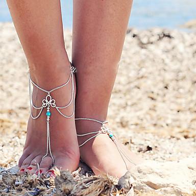 Women's Retro Multilayer Tassels Chain Single Anklet