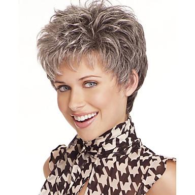 Synteettiset peruukit Luonnolliset aaltoilevat Tyyli Pixie-leikkaus Suojuksettomat Peruukki Harmaa Harmaa Synteettiset hiukset Naisten Harmaa Peruukki Lyhyt StrongBeauty Halloween Peruukki