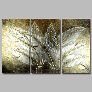 Hand-Painted Abstract Modern Oil Painting Canvas Golden Tropical Leaves Flowers Three Panels Wall Art