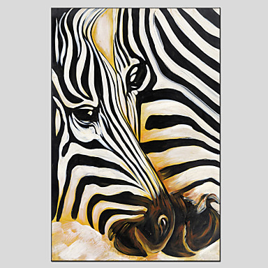 Oil Painting Hand Painted - Animals European Style Modern Canvas