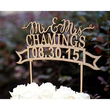 Διακοσμητικό Τούρτας Εξατομικευόμενο Καρδιές / Κλασσικό ζευγάρι Χάρτινη Κάρτα Γάμος / Επέτειος / Πάρτι πριν το Γάμο ΚίτρινοΆνθινο Θέμα /