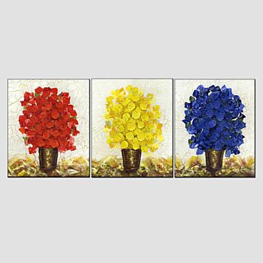 Kézzel festett Virágos / Botanikus Európai stílus Modern Vászon Hang festett olajfestmény lakberendezési Három elem