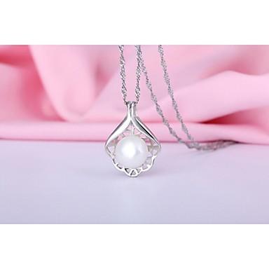 925 sterling ezüst medál természetes édesvízi gyöngy nyaklánc virág alakú üreges ki gyöngyház medál