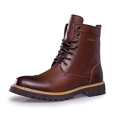 Masculino sapatos Couro Primavera Outono Inverno Conforto Botas da Moda Botas Cadarço Para Casual Preto Marron café