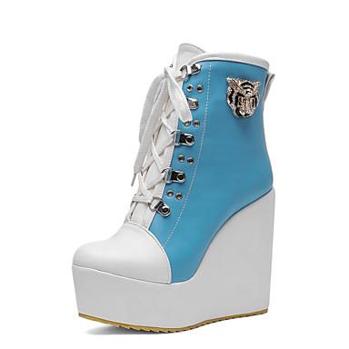 Damen Schuhe Kunstleder Herbst Winter Springerstiefel Modische Stiefel Stiefel Plattform Keilabsatz 10.16-15.24cm Mittelhohe Stiefel