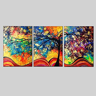 Hang-Painted öljymaalaus Maalattu - Abstrakti European Style Moderni 3 paneeli