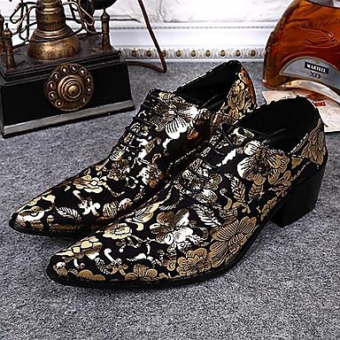 Erkek Ayakkabı Tüylü Bahar Sonbahar Yenilikçi Oxford Modeli Düğün Parti ve Gece için Bağcıklı Altın