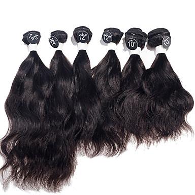 baratos Extensões de Cabelo Natural-6 pacotes Cabelo Brasileiro Ondulado Natural 10A Cabelo Virgem Cabelo Humano Ondulado 2*10 2*12 2*14 polegada Natureza negra Tramas de cabelo humano Extensões de cabelo humano