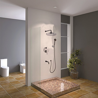 Contemporary Wall Mounted Rain Shower Handshower Included Ceramic Valve Chrome, Shower Faucet