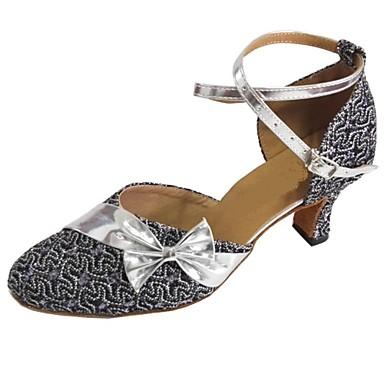 Kadın's Latin Dans Ayakkabıları / Modern Dans Ayakkabıları / Salsa Ayakkabıları Işıltılı Simler / Yapay Deri Sandaletler Fiyonk Kişiye
