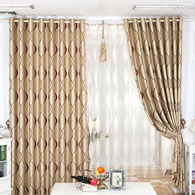 Stanglomme Propp Topp Fane Top Dobbelt Plissert To paneler Window Treatment Neoklassisk, Mønstret Stribe Stue Polyester Materiale