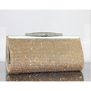 Women's Bags Other Leather Type Evening Bag Crystal Detailing for Event / Party Summer Gold Black Silver