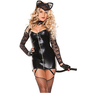 Career Costumes Bunny Girl Cosplay Costume Party Costume Women's Halloween Carnival Festival / Holiday Halloween Costumes Black Solid