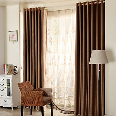 Rod Pocket Grommet Top Double Pleat Two Panels Curtain Modern Mediterranean Neoclassical Country, Jacquard Solid Bedroom Polyester