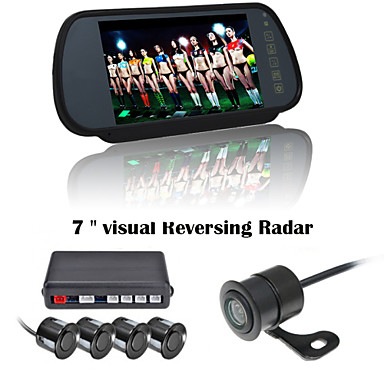 RenEPai® 7 Inch 4 probe Parking Sensors LCD Display Camera Video Car Reverse Backup Radar System Kit Buzzer Alarm 12V