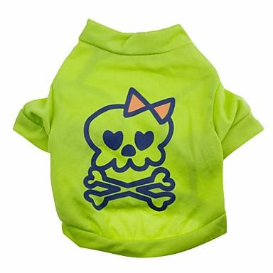 Katze Hund T-shirt Hundekleidung Totenkopf Motiv Grün Baumwolle Kostüm Für Haustiere Sommer Herrn Damen Niedlich Halloween