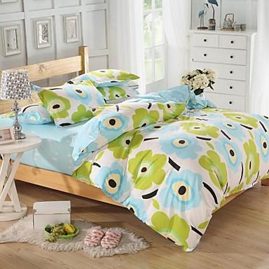 b626965b mingjie® blå og grønn tegneserie blomster dronning og dobbel størrelse  sliping sengetøy sett 4stk for