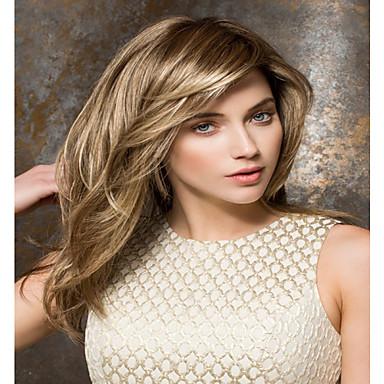 Syntetiske parykker Dame Rett Blond Med lugg Syntetisk hår Med Bangs Blond Parykk Lokkløs Blond