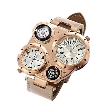Men's Quartz Wrist Watch Dual Time Zones Leather Band Charm Black / White / Blue / Brown