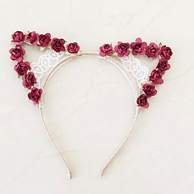 Rose Red car Ears - Bonjourlace Satin Wire Headband flower crown headdress headpiece halloween party costume