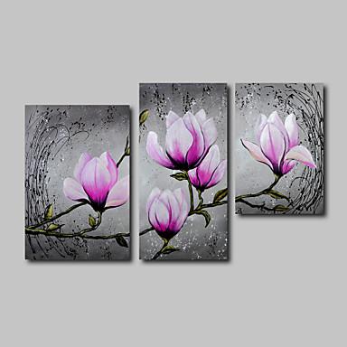 El-Boyalı Çiçek/Botanik herhangi Şekli, Modern Tuval Hang-Boyalı Yağlıboya Resim Ev dekorasyonu Üç Panelli