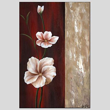 Maalattu Kukkakuvio/KasvitiedeEuropean Style / Moderni 1 paneeli Kanvas Hang-Painted öljymaalaus For Kodinsisustus