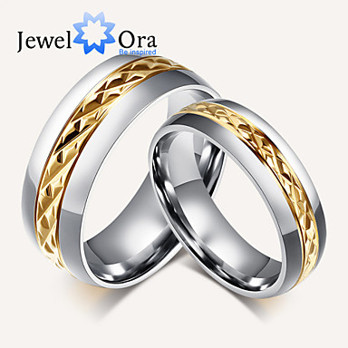 Women's Band Ring Gold Gold/White Steel Fashion Party Costume Jewelry