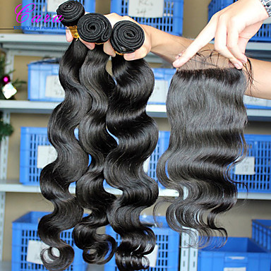 Eurázsiai haj Hair Vetülék, zárral Hullámos haj Póthajak 4 darab