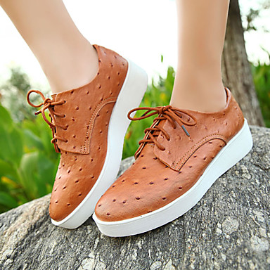 Women's Shoes Leather Flat Heel Comfort / Fashion Sneakers Office & Career / Dress / Casual Blue / Brown / Pink