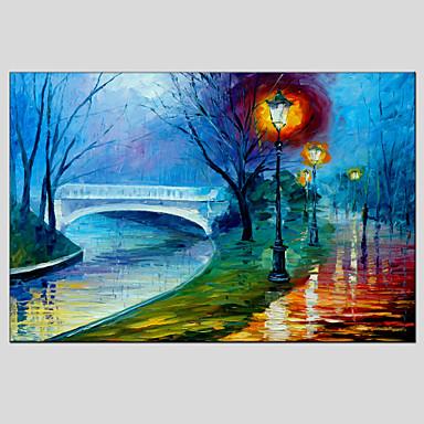 Maalattu Abstraktit maisemakuvatEuropean Style / Moderni 1 paneeli Kanvas Hang-Painted öljymaalaus For Kodinsisustus