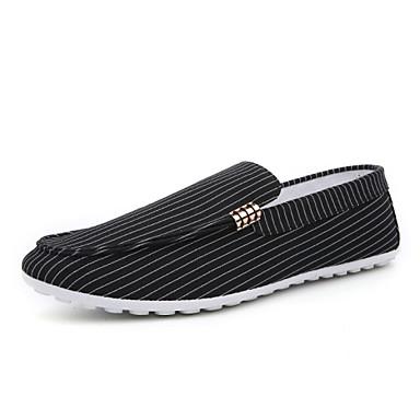 Miehet kengät Kangas Kevät Kesä Comfort Mokkasiinit Valopohjat Mokkasiinit Käyttötarkoitus Kausaliteetti Valkoinen Musta