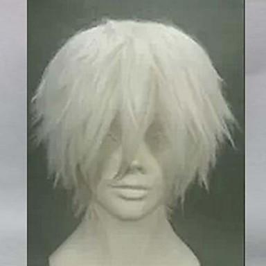 Syntetiske parykker Herre Rett Hvit Lagvis frisyre Syntetisk hår Naturlig hårlinje Hvit Parykk Kort Lokkløs Hvit