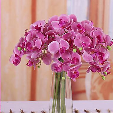 1 Ramo Poliéster Orquideas Flor de Mesa Flores artificiais