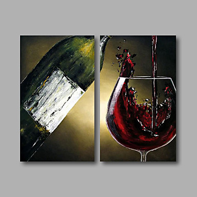 Hand-Painted Abstract Still Life Horizontal, Modern Canvas Oil Painting Home Decoration Two Panels